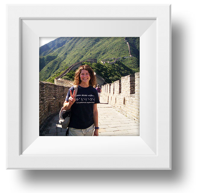Image of Traveller standing on the Great Wall of China