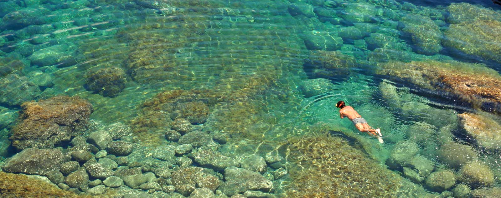 a man snorkelling in crystal clear waters
