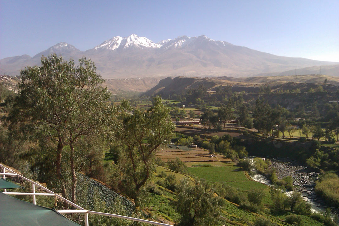 A panoramic shot of snow-capped Mountains in the Andes.