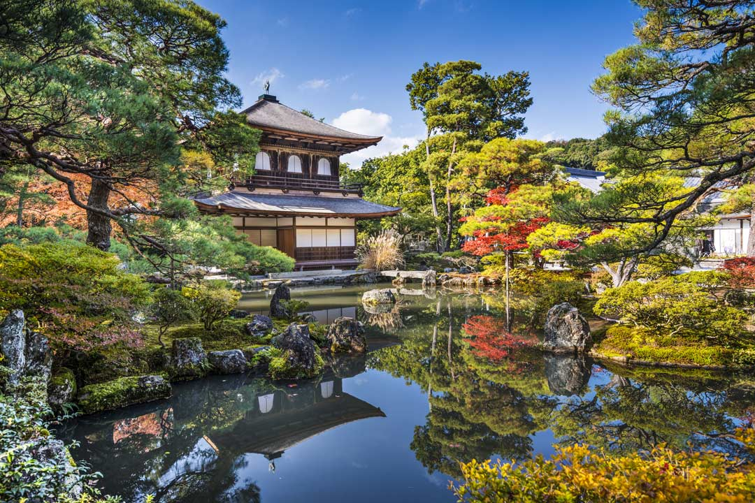 A temple in a calm zen garden in Kyoto