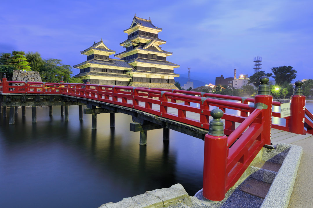 A red wooden bridge crosses a Japanese lake towards a multiple-roofed wooden temple