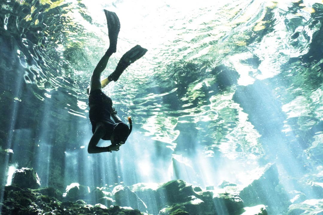 A lone snorkeler dives down through clear water. while sunlight filters through the ocean behind him