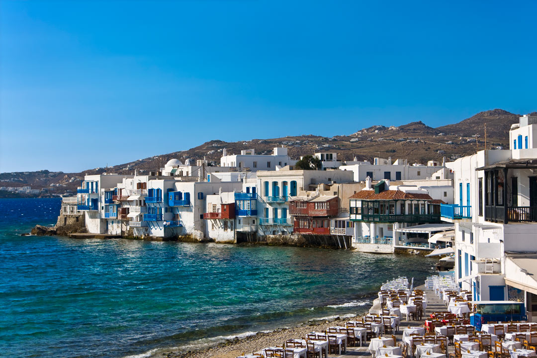 The whitewashed seafront houses of Little Venice in Mykonos