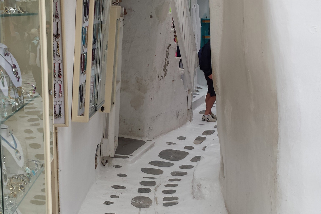 The whitewashed and cobbled little lanes of Mykonos old town