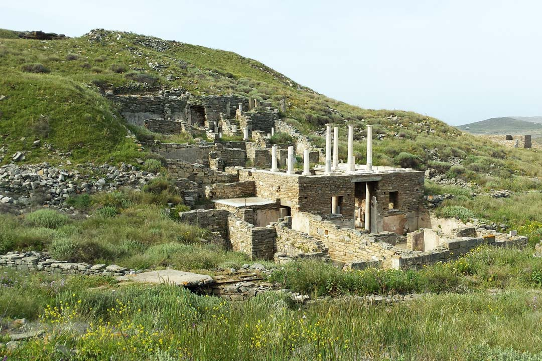 An Ancient temple surrounded by lush vegetation in Delos
