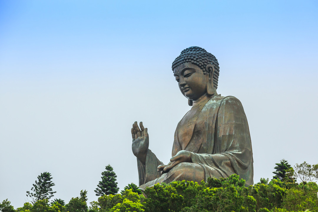 The colossal bronze Tian Tan buddha sat in the lotus position on top of a green hill