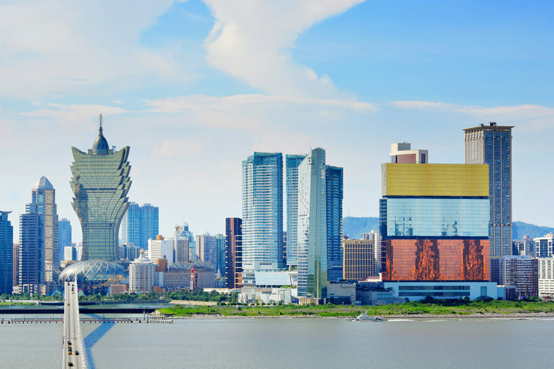 The glitzy skyline of the hotels and casinos of Macau