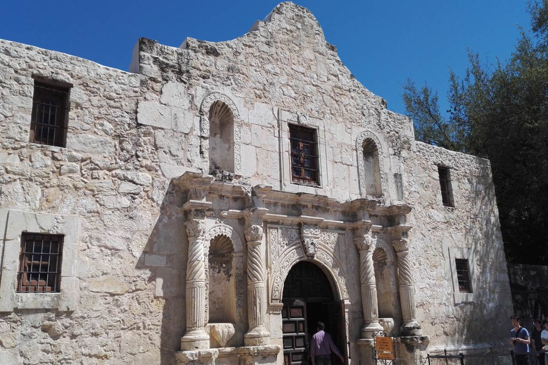 The front facade of the historic Alamo Mission
