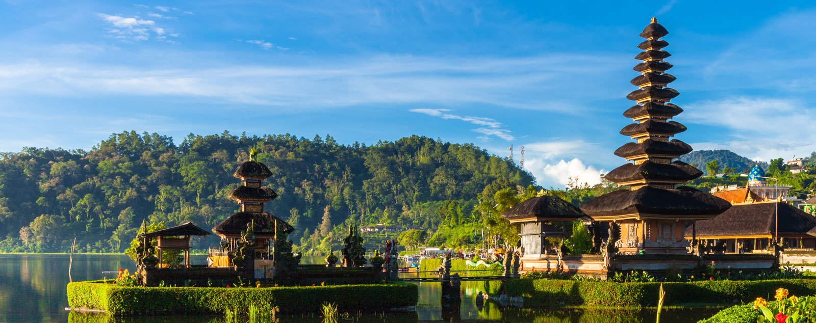 A Balinese Temple with a multi-storied roof that gets narrower as it ascends