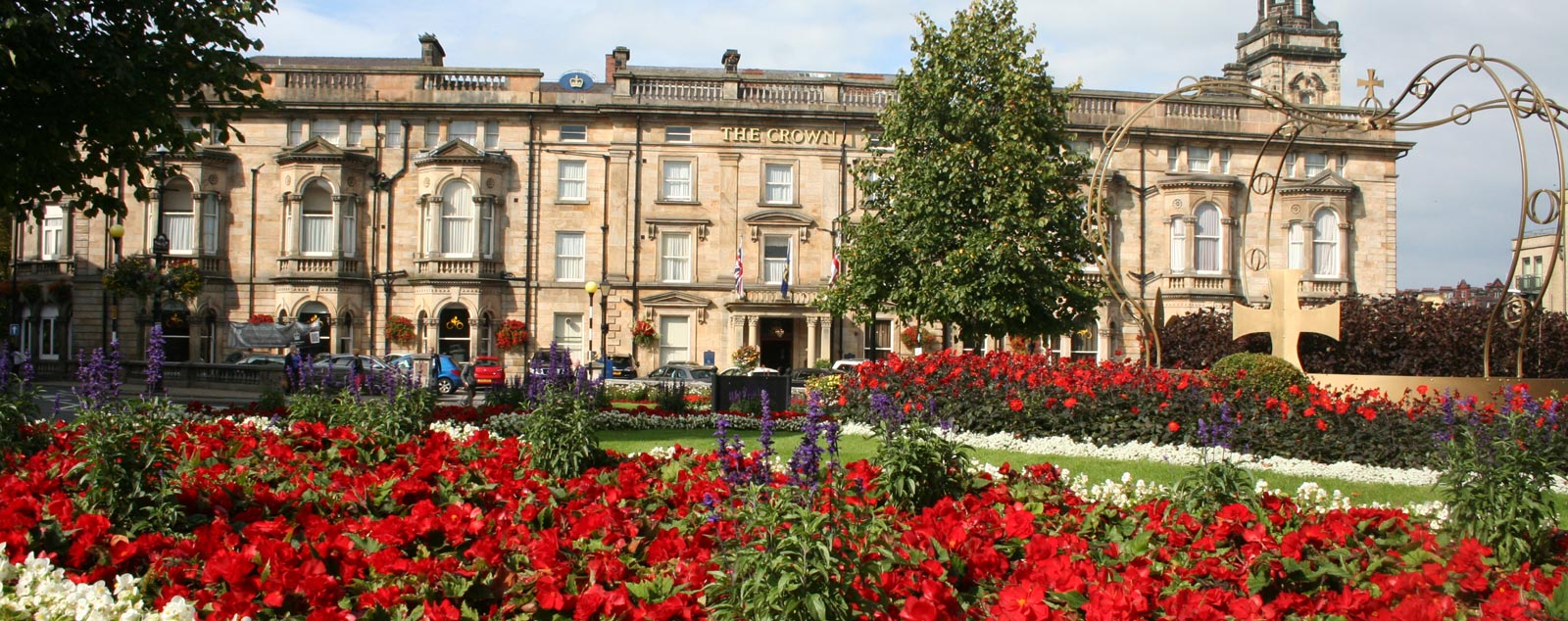 Historic nineteenth century buildings overlook vibrantly coloured red roses in a green garden.