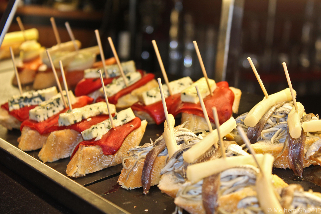 A variety of tapas in a Madrid restaurant