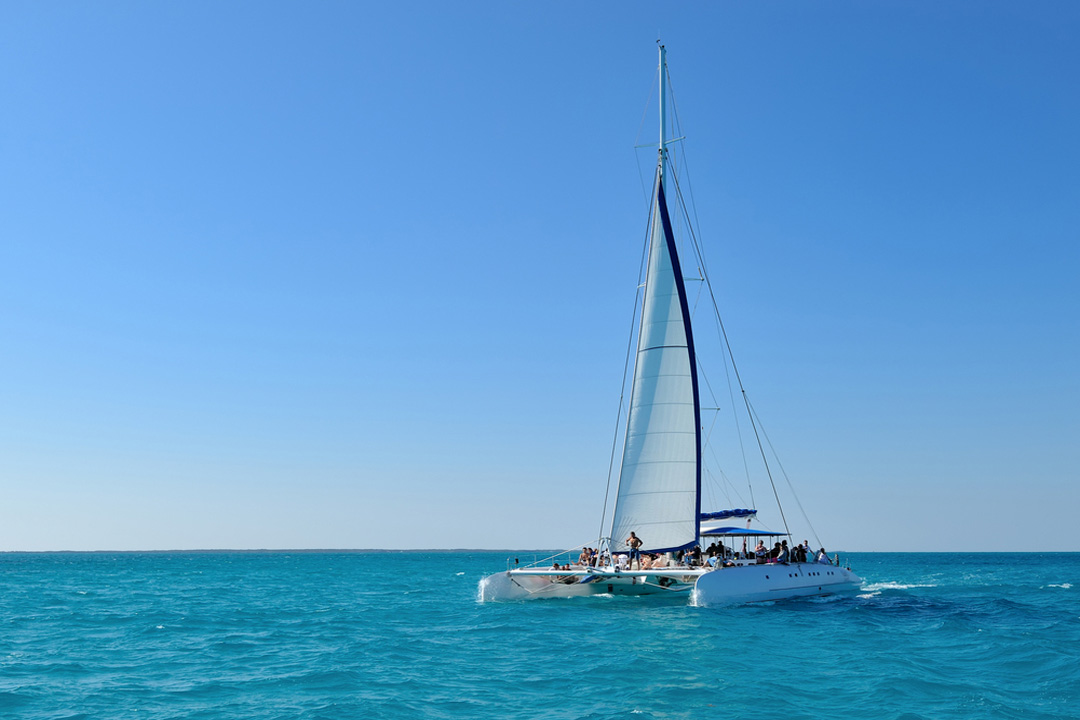 a catamaran cruise sailing in a blue sea