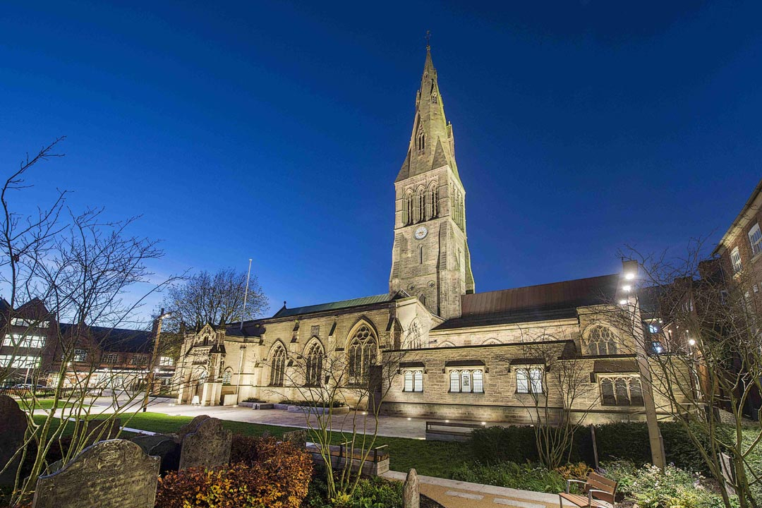 Leicester cathedral illuminated by night