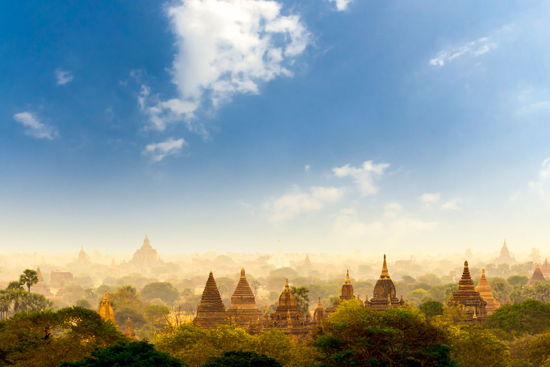 A bright blue sky leads down to a green forest with crumbling temple spires rising out of the greenery