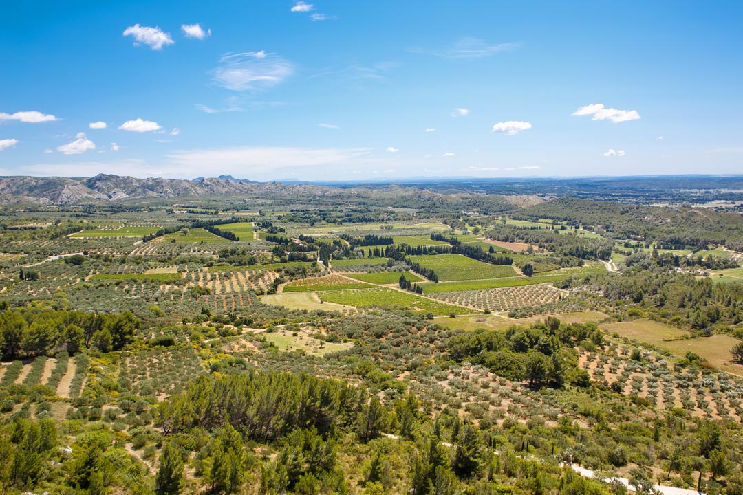 Provence's countryside. Rocky outcrops can be seen in the far distance with green fields and dusty roads
