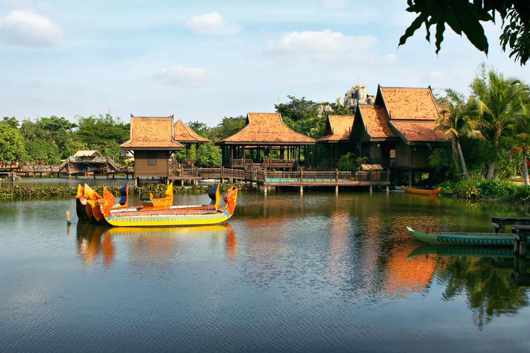 Cambodian dwellings built on stilts on a lake