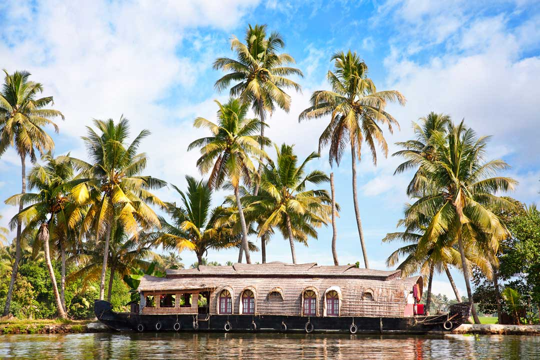 A thatched house boat with bay windows cruising on calm waters lined by palm trees