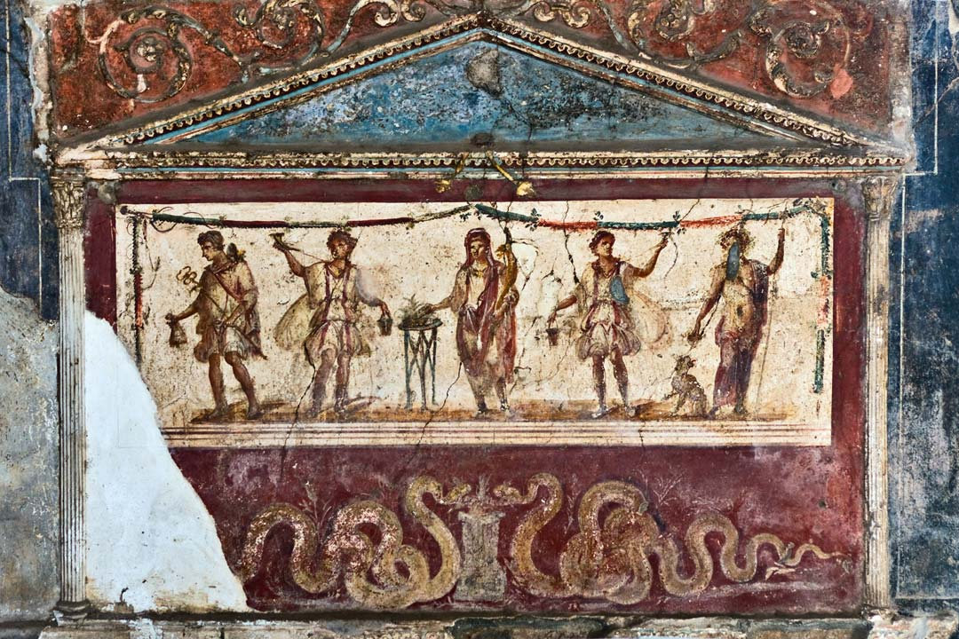 A Roman mosaic with multiple figures and serpants drinking from a water tap