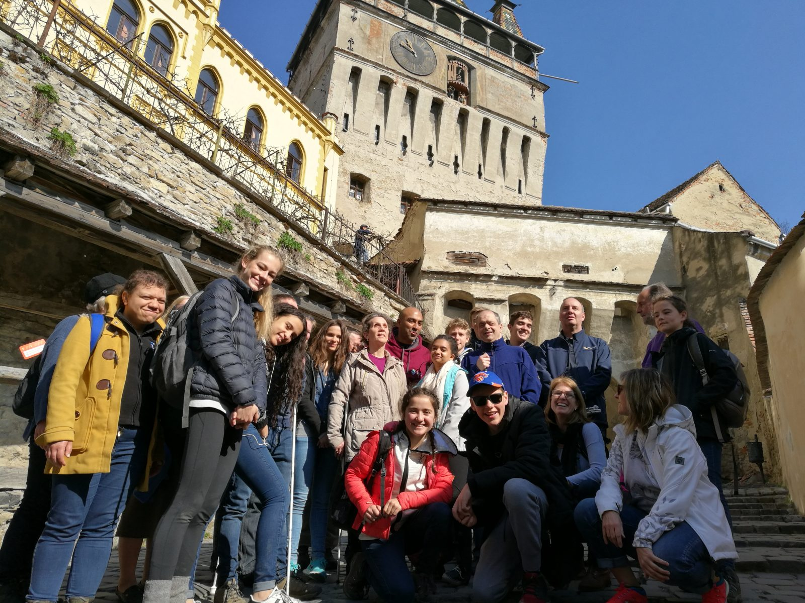 The group from the International School of London, Surrey, with our VI travelers in Romania!