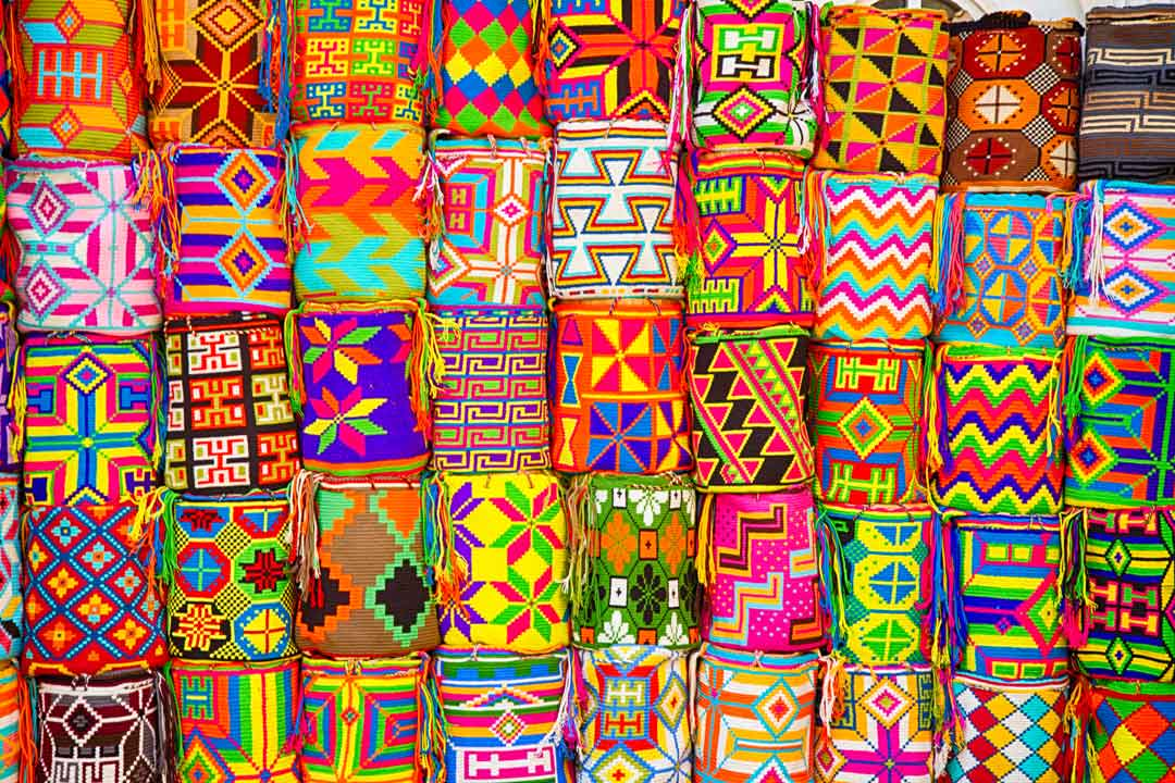 Traditional Colombian textiles. Vibrantly coloured with intricate patterns