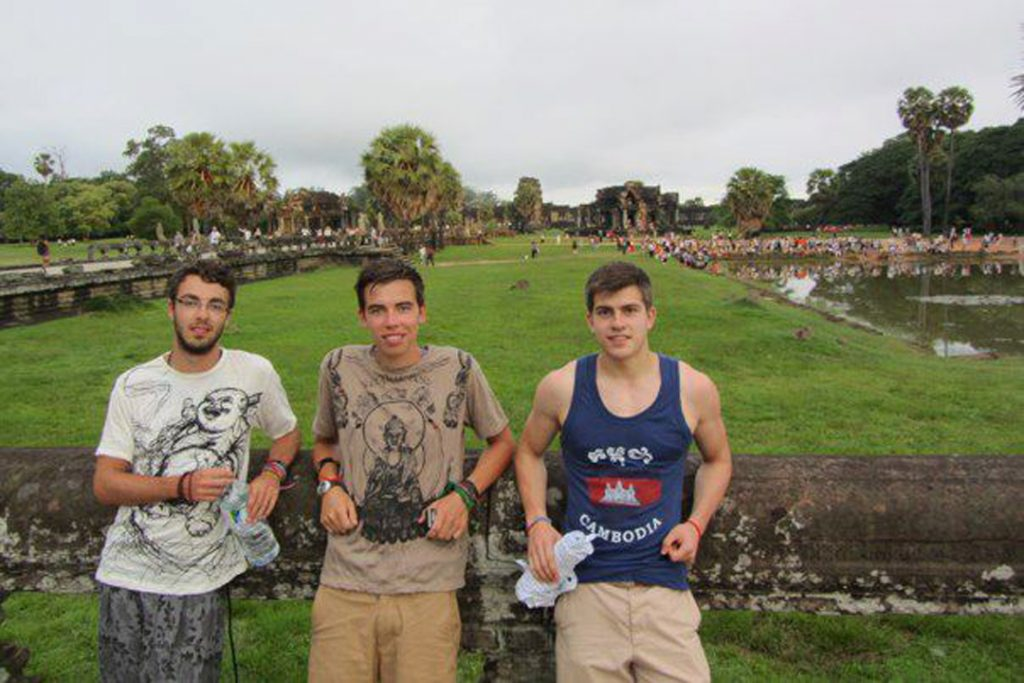 Will, center, exploring Angkor Wat in Cambodia!