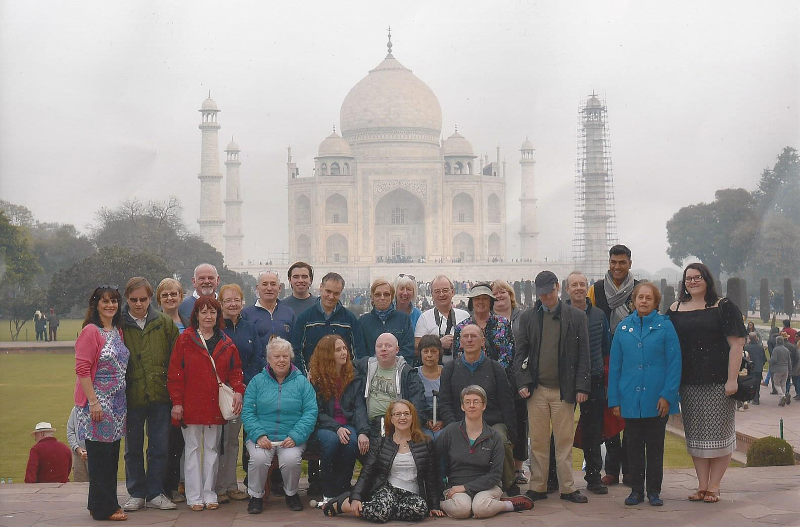 Will with a Traveleyes group at the mighty Taj Mahal! The Taj is rising in the background, with 4 impressive spires and a vast central dome.