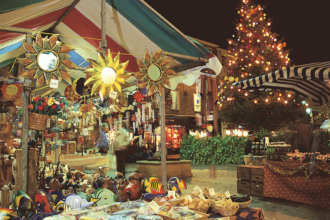 A Christmas Market stall selling gifts and wares