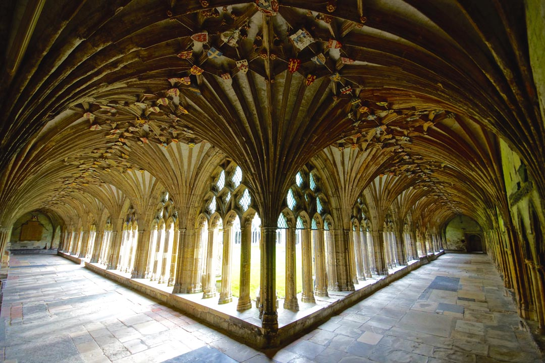 The cloister of Canterbury Cathedral showing fan-vaulted detail