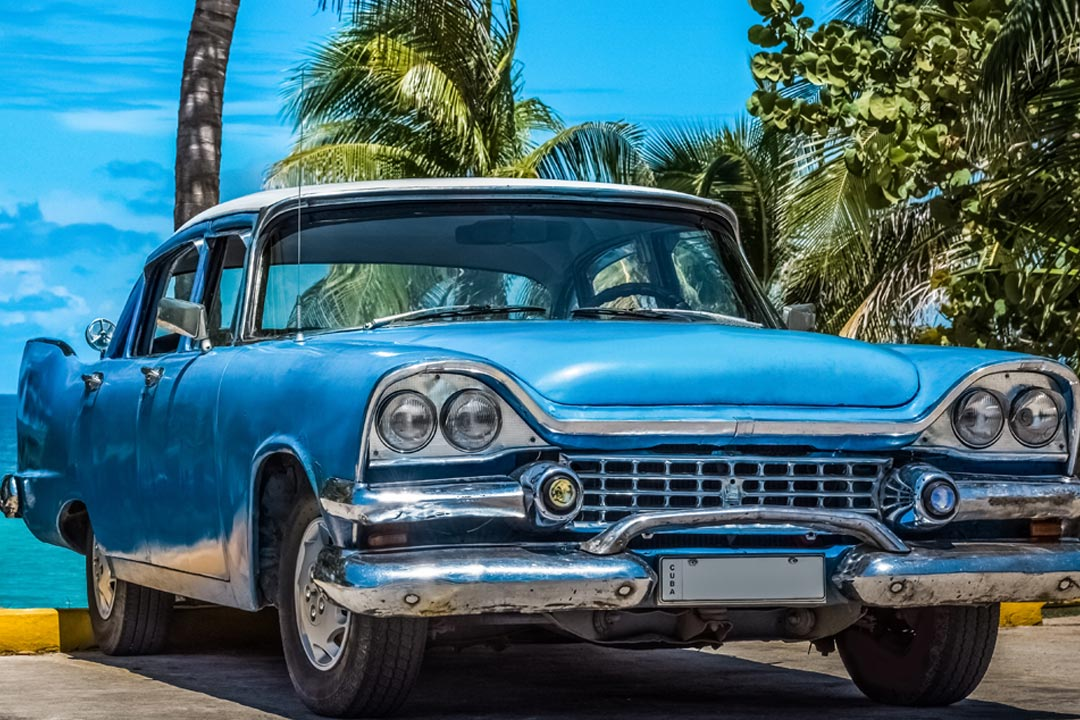 A blue vintage car parked next to the sea under a palm tree