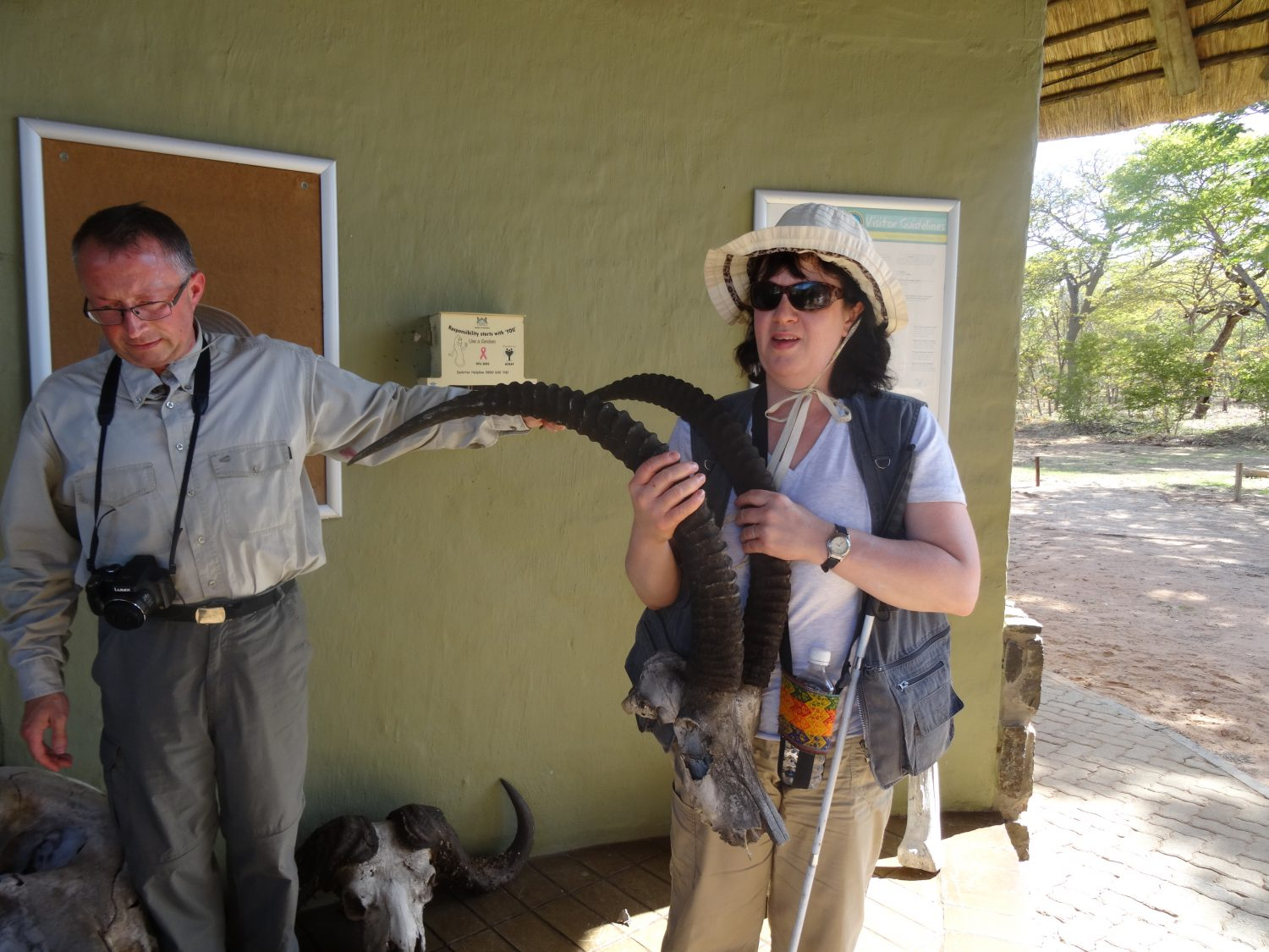 Liz feeling a Sable Antelope's skull in Chobe National Park, Botswana