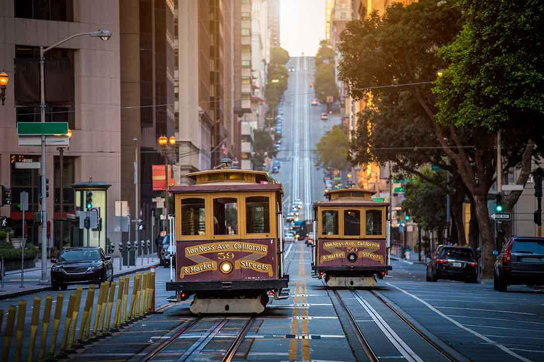 San Francisco Cable Cars on California Street at sunrise