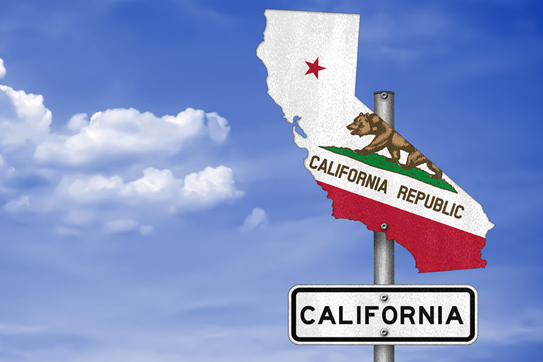 A California road sign in the shape of the state with a bear on it