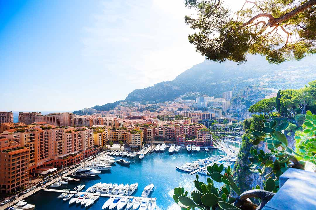 Marina and luxury yacht in Monaco city, tiny little country in Mediterranean Europe