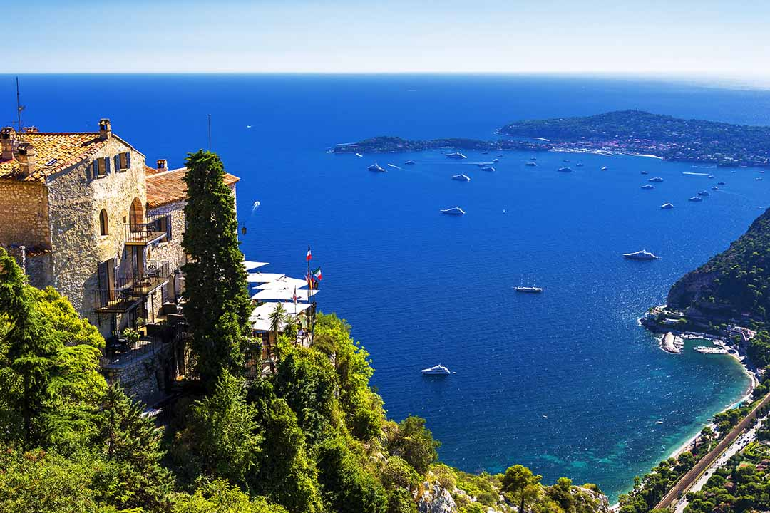 A view of the Meditteranean Sea from the hill-top town of beautiful Eze