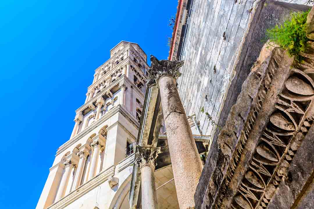 View at croatian architectural symbol Saint Domnius bell tower in old ancient town Split, Croatia Europe landmarks.