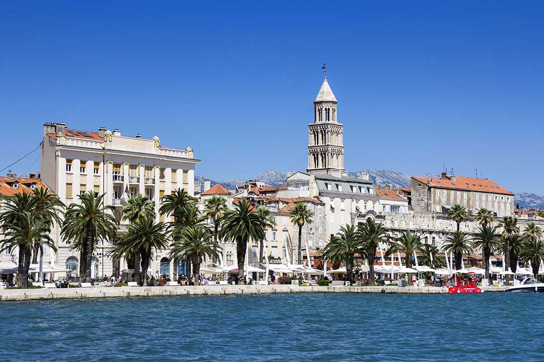 Panoramic view of Split and tower Palace of Diocletian in Croatia