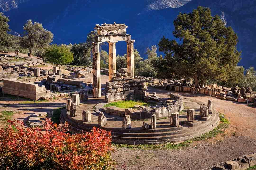 Ruins of Athina Pronaia temple in Ancient Delphi, Greece